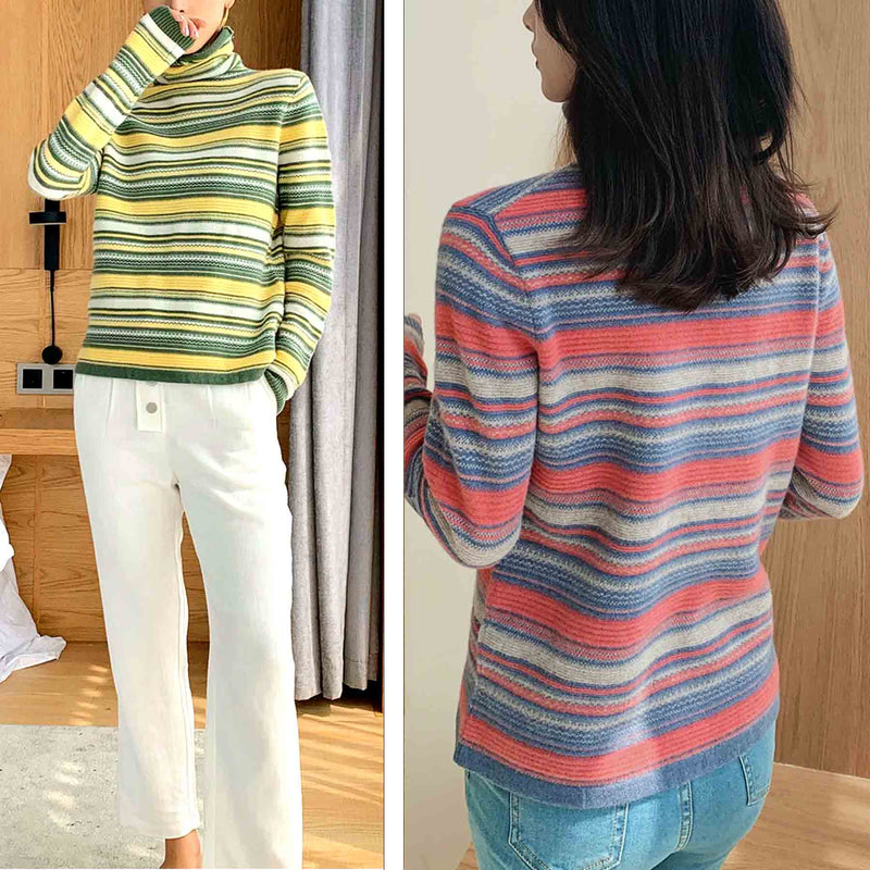 Emmeline Striped Wool Turtleneck Sweater - i.cluie.com