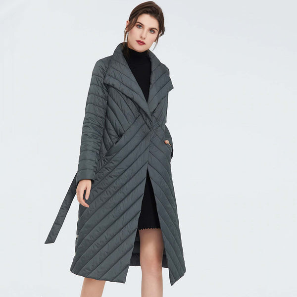 Kaitlyn Belted Thin Padded Coat - i.cluie.com