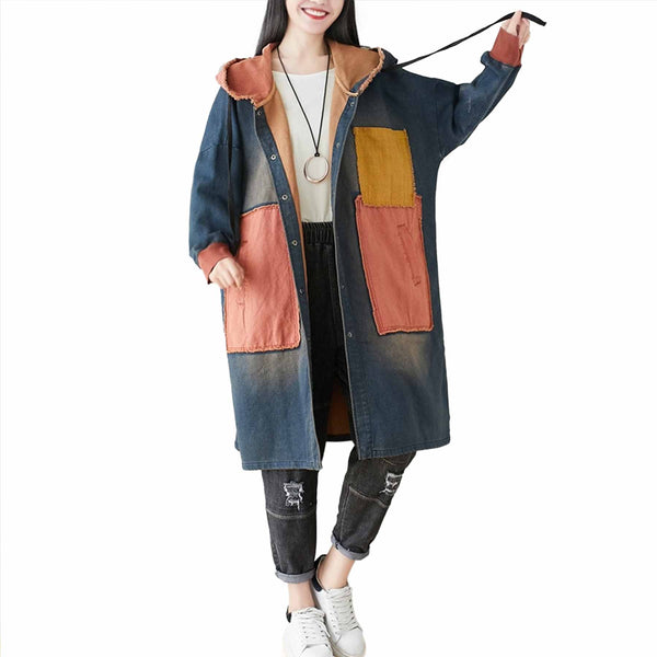 Meredith Color Patch Hooded Windbreaker - i.cluie.com