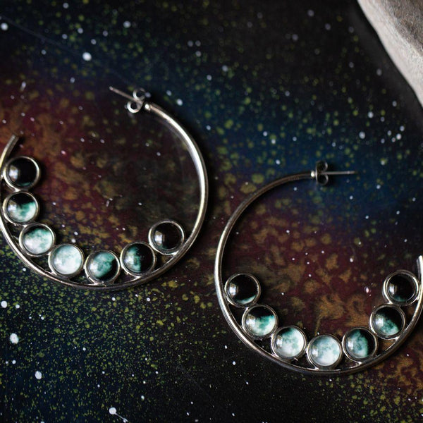 Moon Phase Hoop Earrings - i.cluie.com