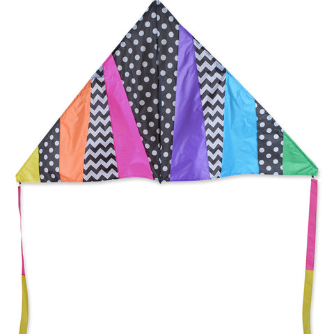 6.5 ft. Delta Kite - Black Pattern Rainbow