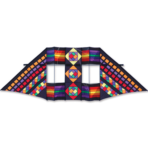 12.5 ft. Swept Wing Double Box Delta Kite - Mayan Rainbow