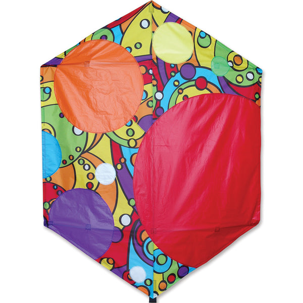 56 in. Rokkaku Kite - Rainbow Bubbles
