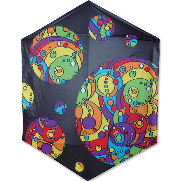 Rokkaku Kite - Black Rainbow Orbit Bubbles