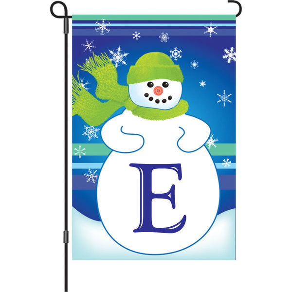 12 in. Winter Monogram Flag - E