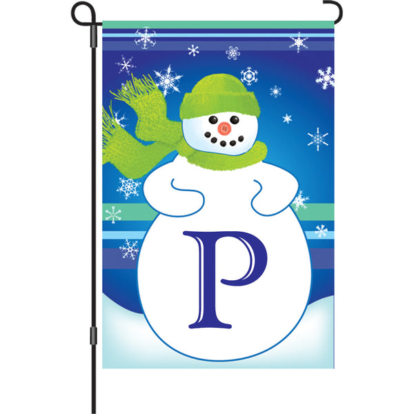 12 in. Winter Monogram Flag - P