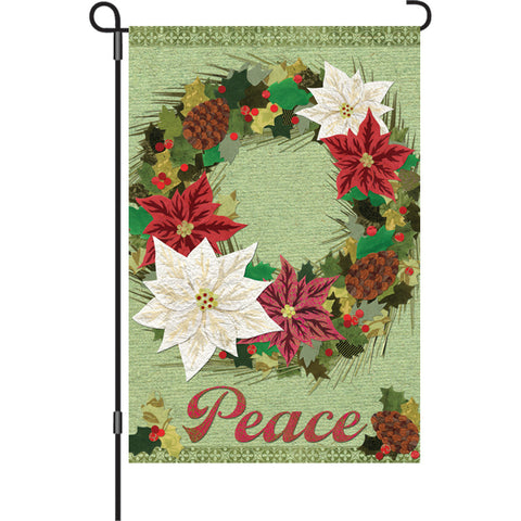 12 in. Flag - Poinsettia Wreath