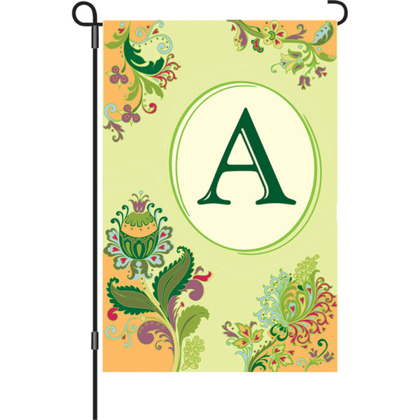 12 in. Spring Monogram Flag - A