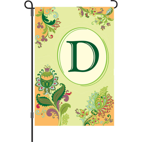 12 in. Spring Monogram Flag - D