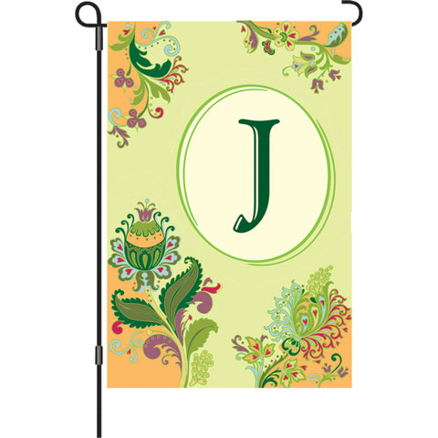 12 in. Spring Monogram Flag - J