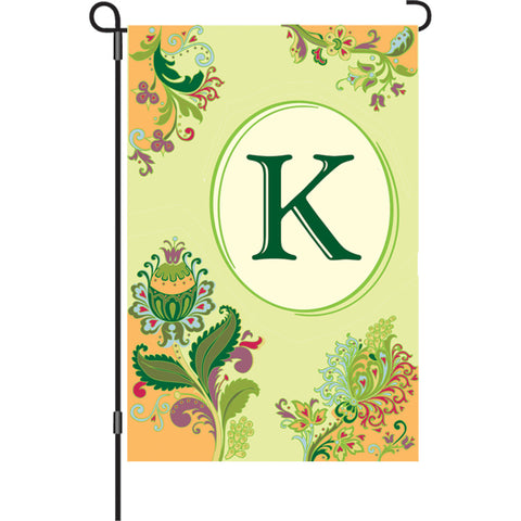 12 in. Spring Monogram Flag - K