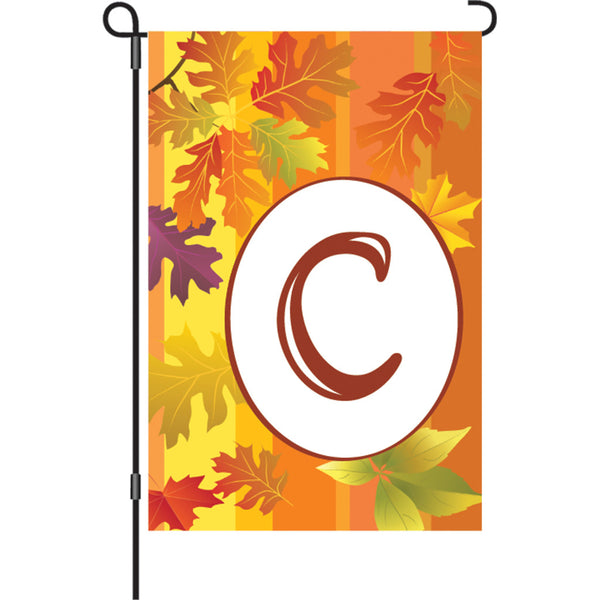 12 in. Fall Monogram Flag - C
