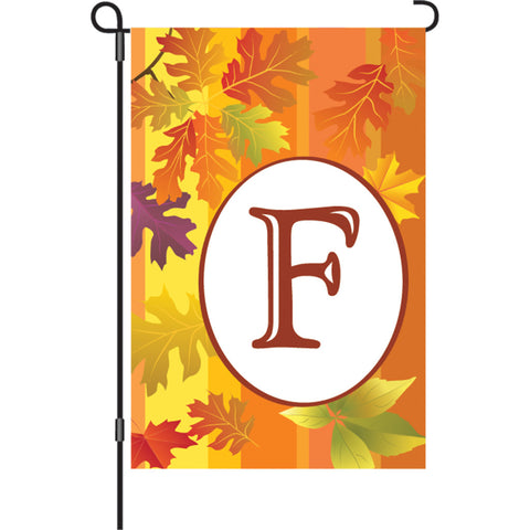 12 in. Fall Monogram Flag - F
