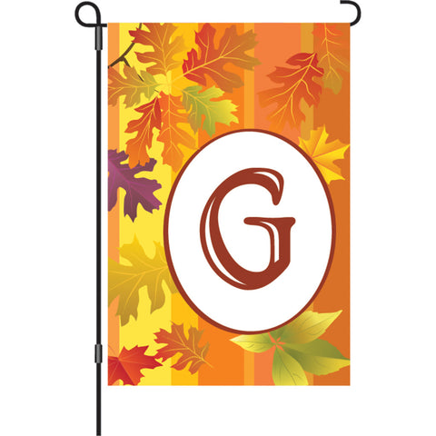 12 in. Fall Monogram Flag - G