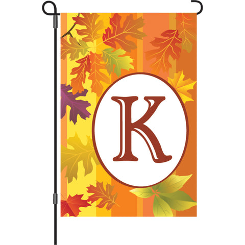 12 in. Fall Monogram Flag - K