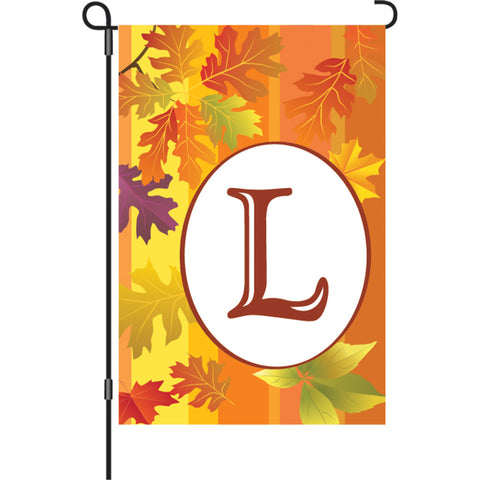12 in. Fall Monogram Flag - L