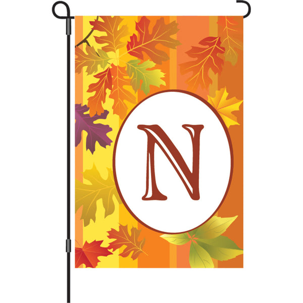 12 in. Fall Monogram Flag - N