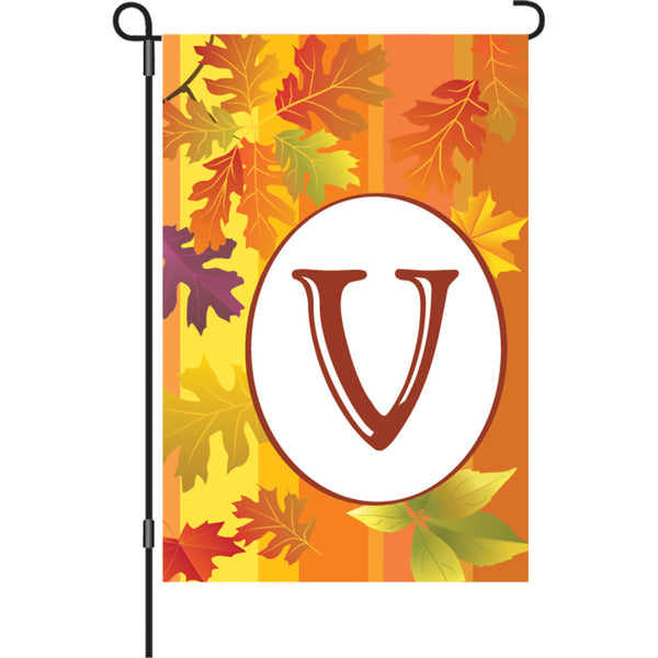 12 in. Fall Monogram Flag - V