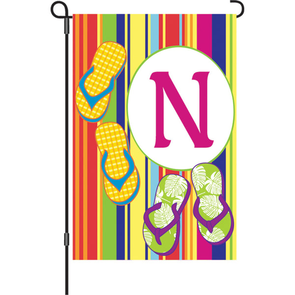 12 in. Summer  Monogram Flag - N