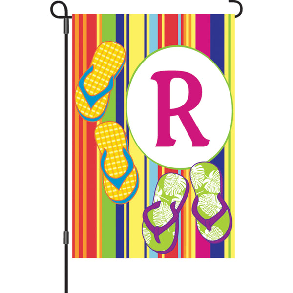 12 in. Summer  Monogram Flag - R