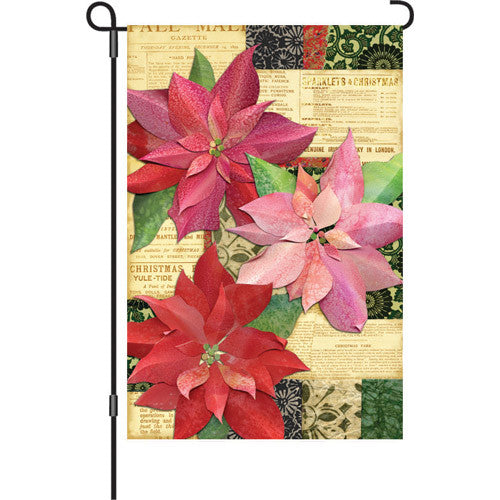 12 in. Flag - Yuletide Poinsettia