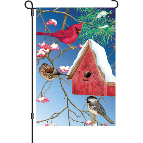 12 in. Flag - Winter Birdhouse