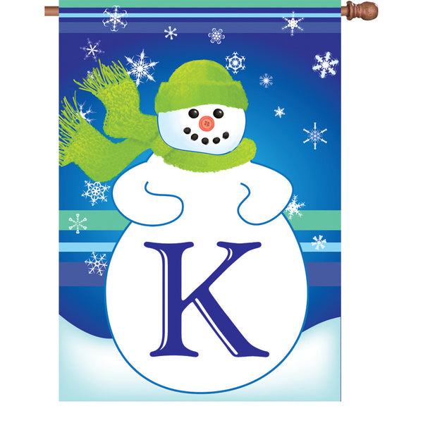 28 in. Winter Monogram Flag - K