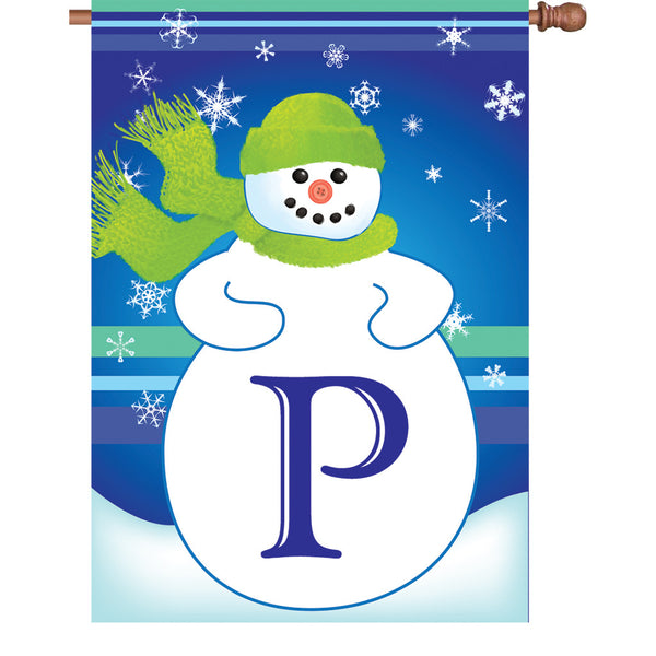 28 in. Winter Monogram Flag - P