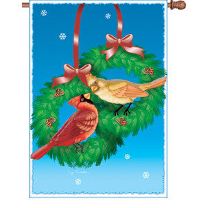 28 in. Flag - Christmas Cardinals