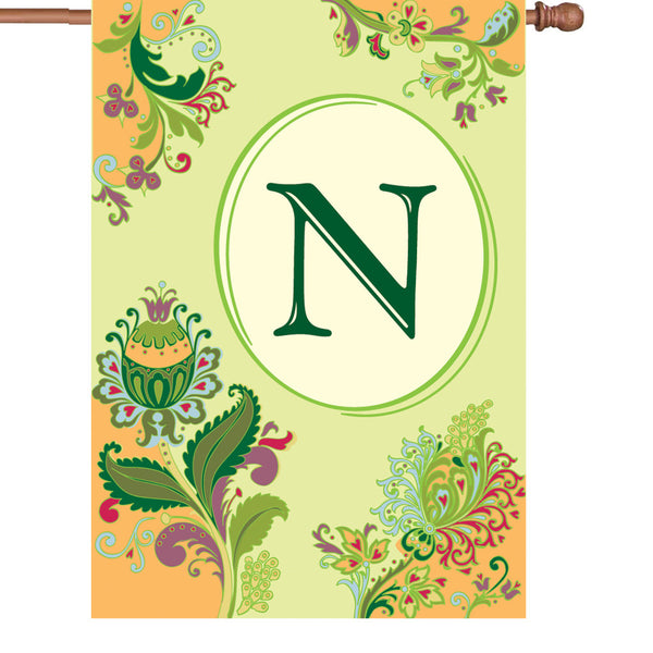 28 in. Spring Monogram Flag - N