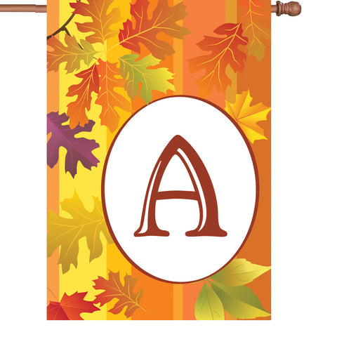 12 in. Fall Monogram Flag - A