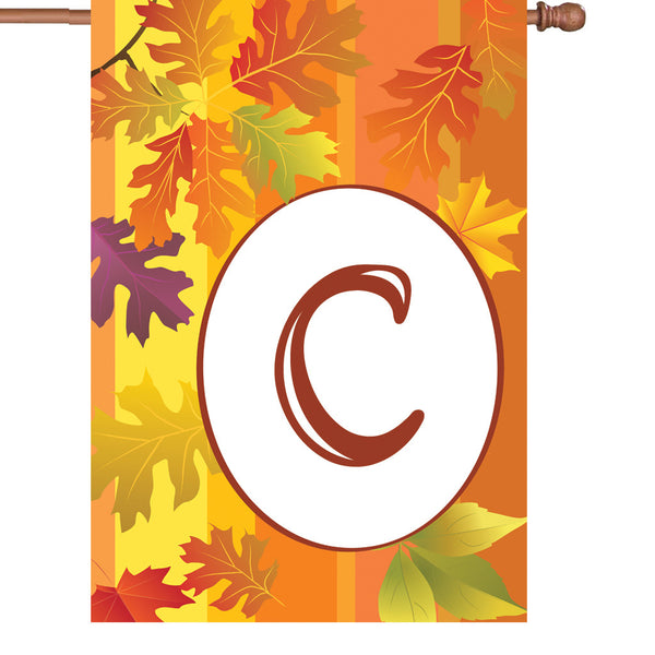 28 in. Fall Monogram Flag - C