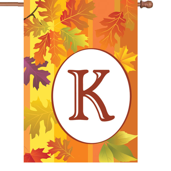 28 in. Fall Monogram Flag - K