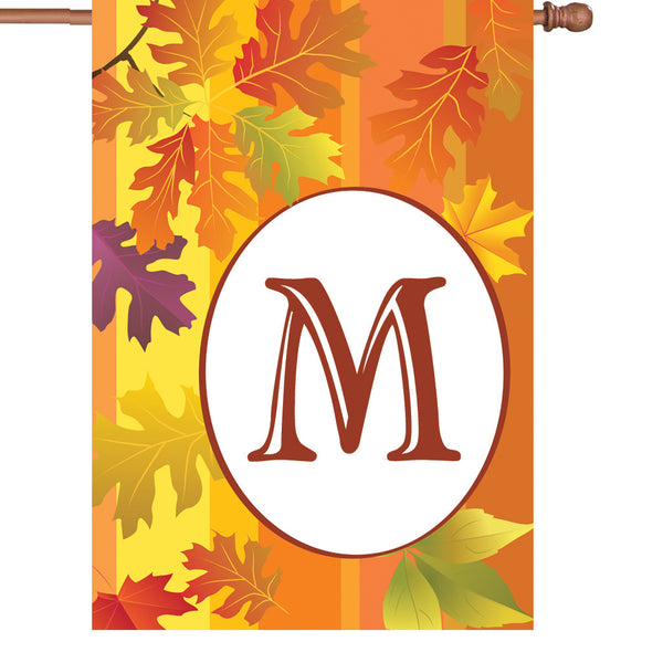 28 in. Fall Monogram Flag - M