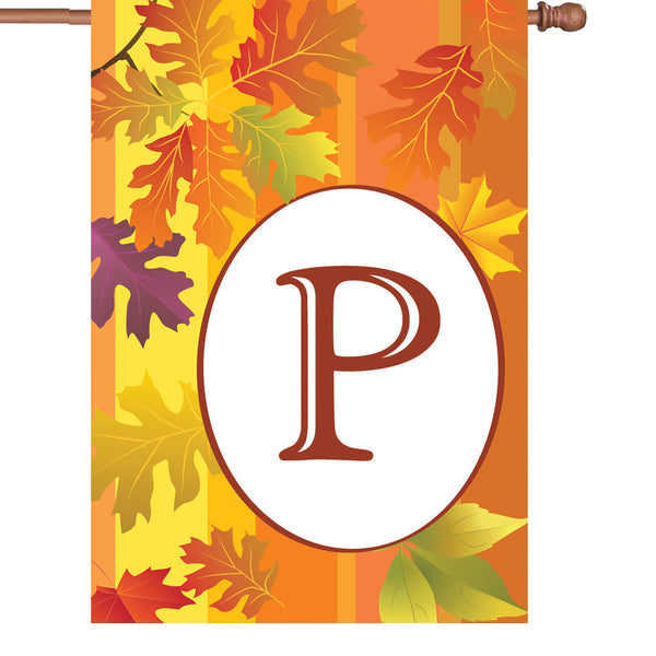 28 in. Fall Monogram Flag - P