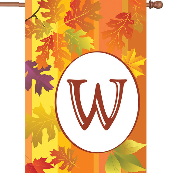 28 in. Fall Monogram Flag - W