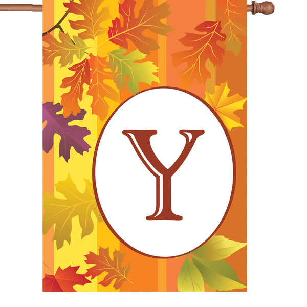 28 in. Fall Monogram Flag - Y