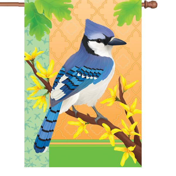 28 in. Flag - Blue Jay In Spring