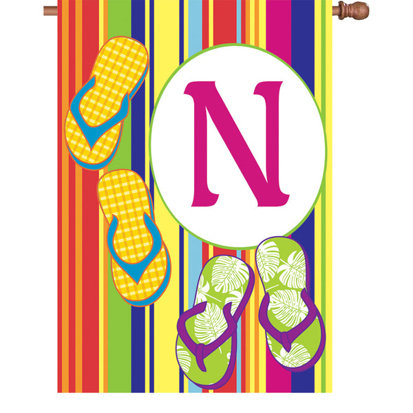 28 in. Summer Monogram Flag - N