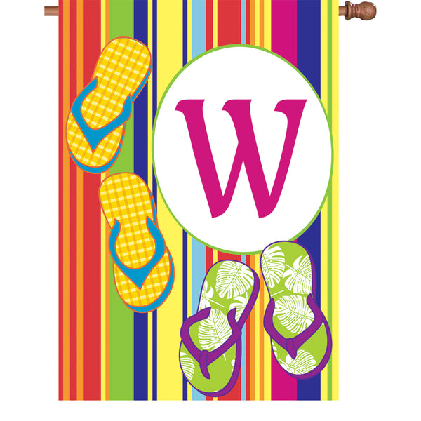 28 in. Summer Monogram Flag - W
