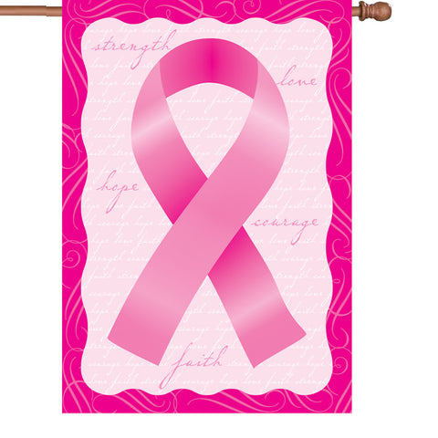 28 in. Flag - Pink Ribbon