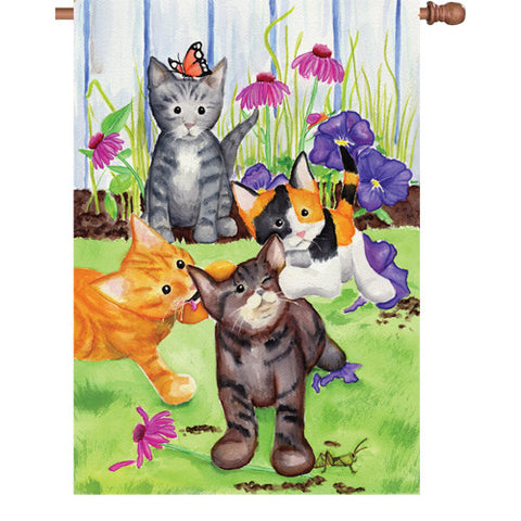 28 in. Flag - Kitten Flowerbed