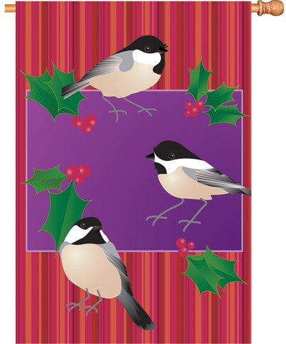 28 in. Flag - Holiday Chickadees