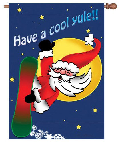 28 in. Flag - Snowboarding Santa