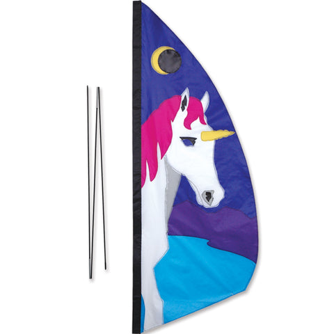 3.5 ft. Recumbent Bike Feather Banner - Unicorn