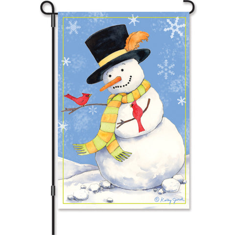12 in. Flag - Snowman Cardinals