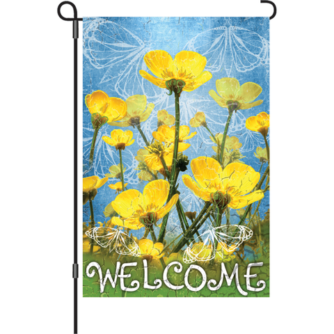 12 in. Flag - Buttercups Welcome
