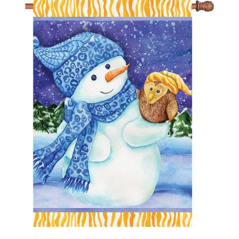 28 in. Flag - Snowman And Owl