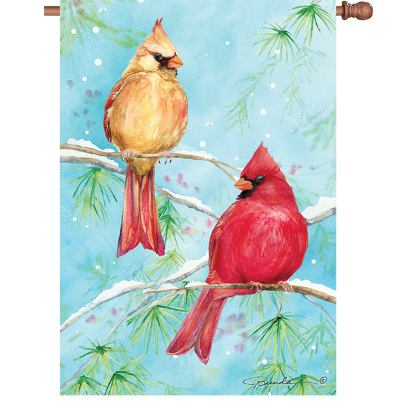 28 in. Flag - Winter Cardinal