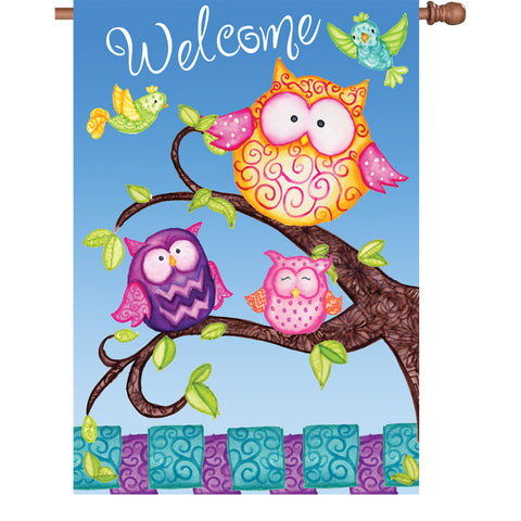 28 in. Flag - Welcome Owls